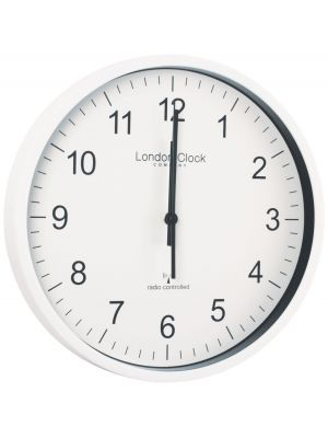 London Clock Radio Controlled Office Wall Clock With White Resin Case