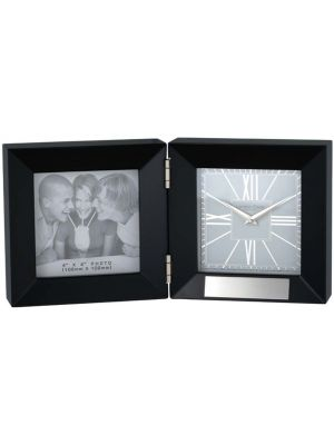 Black Folding Photo Frame Clock | 06310