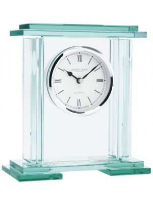 Heavy Glass Plinth Mantel Clock with Roman Dial | 05089