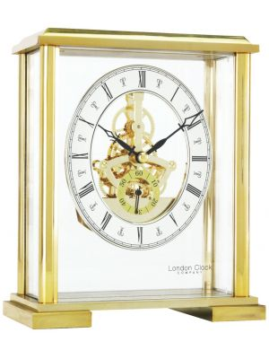 Feature Square Top Skeleton Gold Finish Mantel Clock | 02085