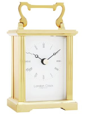 Brass Carriage Clock with Classic Roman Numeral Dial | 02053