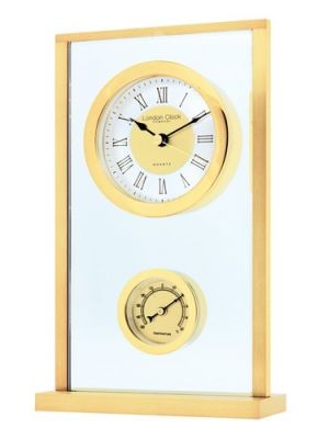 Glass and Brass Finish Thermometer Mantel Clock | 04102