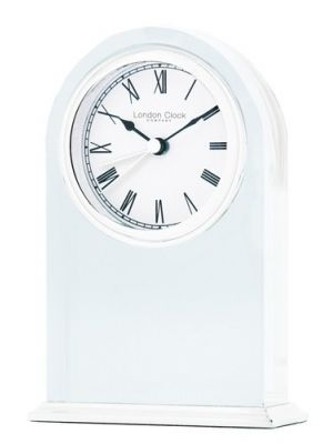 Chunky Glass Mantel Clock with Roman Numerals and Alarm | 05149