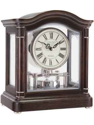 Dark Wood Break Arch Mantel with Rotating Pendulum | 12036