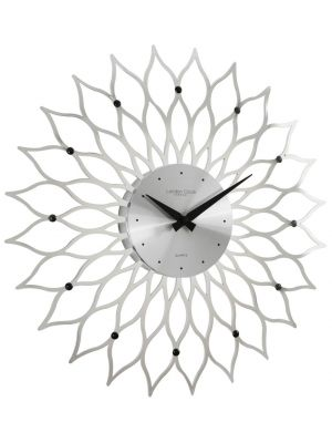 Gloss Silver Contemporary Wall Clock with Black Hands | 24209