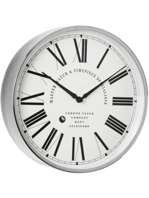 Chrome Feature Roman Dial Wall Clock with Faux Winder | 20451