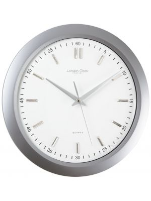 Matt Silver Finish Wall Clock with Sweep Seconds | 24186