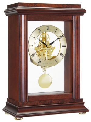 Mahogany Finish Feature Skeleton Mantel with Pendulum | 07074