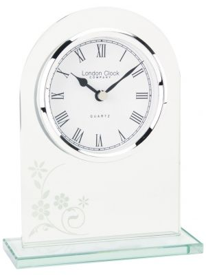 Glass floral arch top mantel clock | 05129