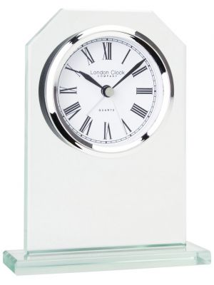 Glass Octagonal Top Mantel Clock with Silver Bezel and Alarm | 05159