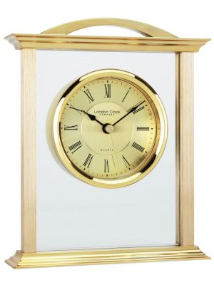 Gold Finish and Glass Mantel with Roman Dial | 03023