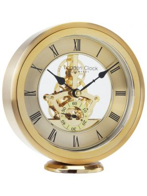 Round Gold Skeleton Mantel Clock | 04114