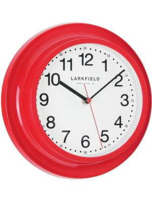 Bright Red Retro Sweep Wall Clock with 24 Hour Dial | 24216