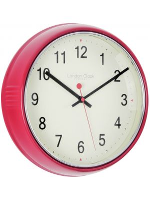 Retro Red Metal Cased Wall Clock with Cream Arabic Dial | 20491