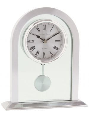 Glass and silver finish pendulum mantel clock | 03074