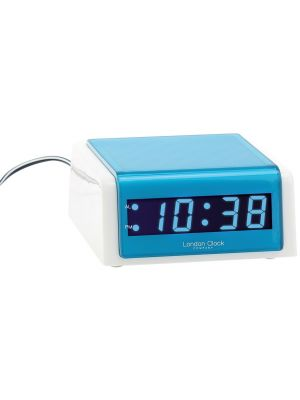 WHITE AND BLUE CASED LED MAINS ALARM CLOCK | 06365