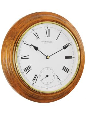 Oak Finish Wall Clock with Sweep Seconds Dial | 22340