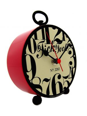 Funky Numbers Red Retro Tick Tock Clock | 24213