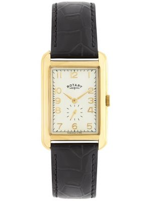 Mens Rotary Portland gold plated black leather gs02698/03 Watch