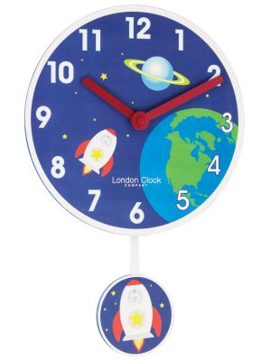Rocket pendulum wall clock with bold Arabic dial. | 02120
