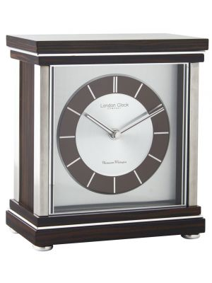Ebony veener flat top mantel clock | 06411