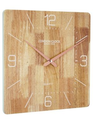 Square wooden wall clock with copper hands | 01085
