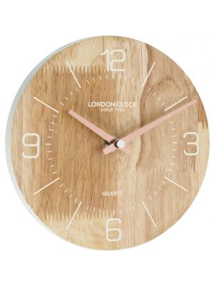Round wooden wall clock with copper hands  | 01082