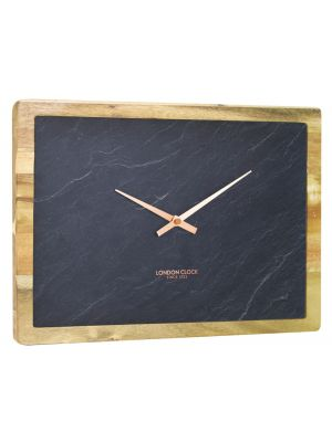 Rectangular slate and wooden wall clock | 24396