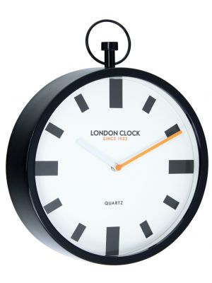Metal fob wall clock with orange minute hand | 24408