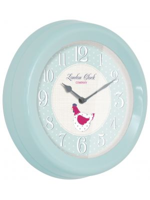 Soft blue metal cased wall clock | 24300