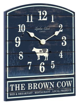 Brown cow navy blue and cream wall clock | 24307