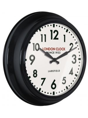 Black metal cased wall clock with gloss finish | 24309