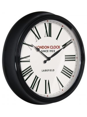 Black metal cased wall clock with gloss finish | 24314
