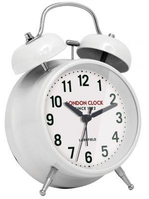 White gloss finish metal twinbell alarm clock | 34360
