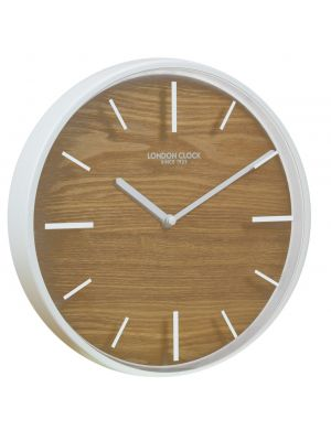 White metal and wood minimal Skog wall clock | 01114