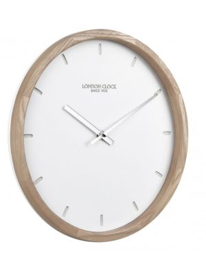 Klokke real wood round wall clock with debossed markers | 01112