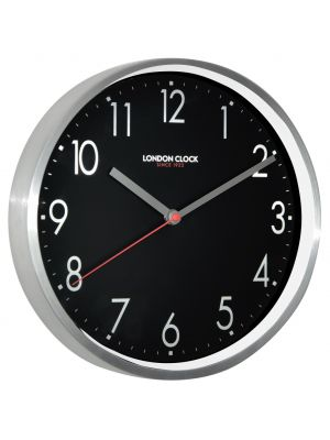 Sleek modern brushed metal wall clock with black dial | 01101