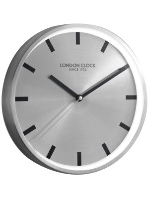 Brushed metal minimal wall clock with silver marker dial | 01100