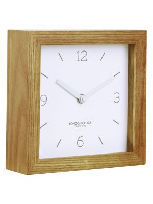 Minimal Square wooden mantel clock with white marker dial | 03142