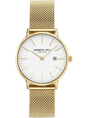 Womens Kenneth Cole Classic Classic White Dial Gold Tone Date on Mesh KC15057006 Watch