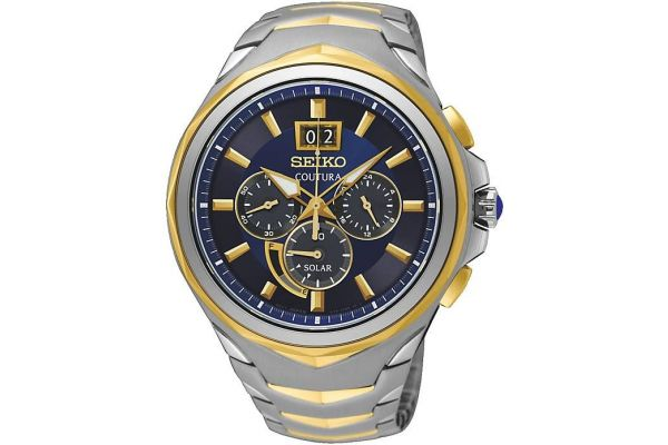 Men S Seiko Coutura Two Tone Blue Dial Solar Power Chrono