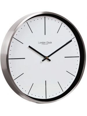 Chrome metal wall clock with baton dial | 01124