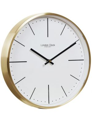 Brushed gold case wall clock with white contemporary dial | 01123