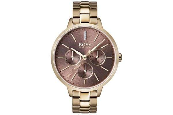 a7861888ca339 Hugo Boss Women s Symphony Gold link watch with brown dial