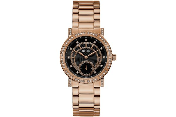 Guess Women S Constellation Rose Gold Watch Black Crystal Dial