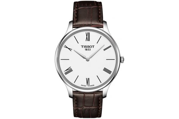 Tissot Men's Traditions 5.5 ultra slim watch, steel on brown leather strap