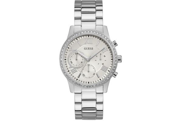 62763431e Women's Guess Solar Steel crystal day date bracelet | Creative Watch Co