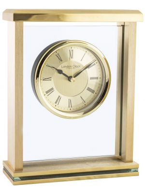 Glass and metal mantel with brushed metal dial | 03123