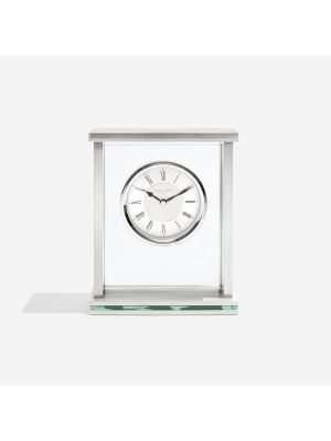 Glass and metal mantel with brushed metal dial | 05178