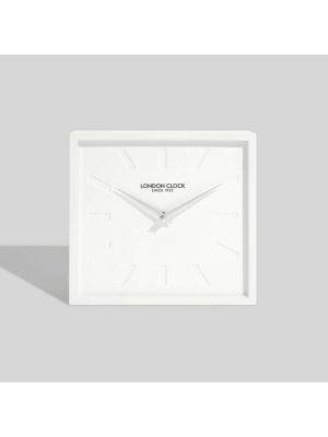 Dyp white minimal square resin wall or mantel clock | 03145